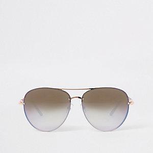 Roségoudkleurige zonnebril met blauwe spiegelglazen