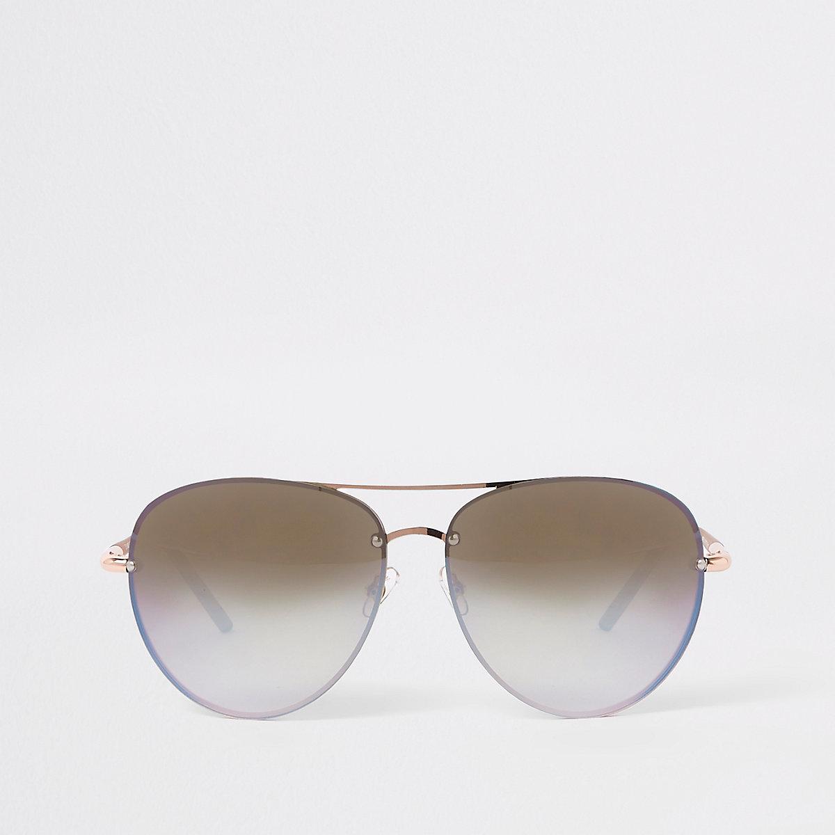 Rose gold tone mirror blue lens sunglasses