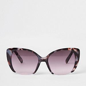 Bruine tortoise zonnebril met roze glazen