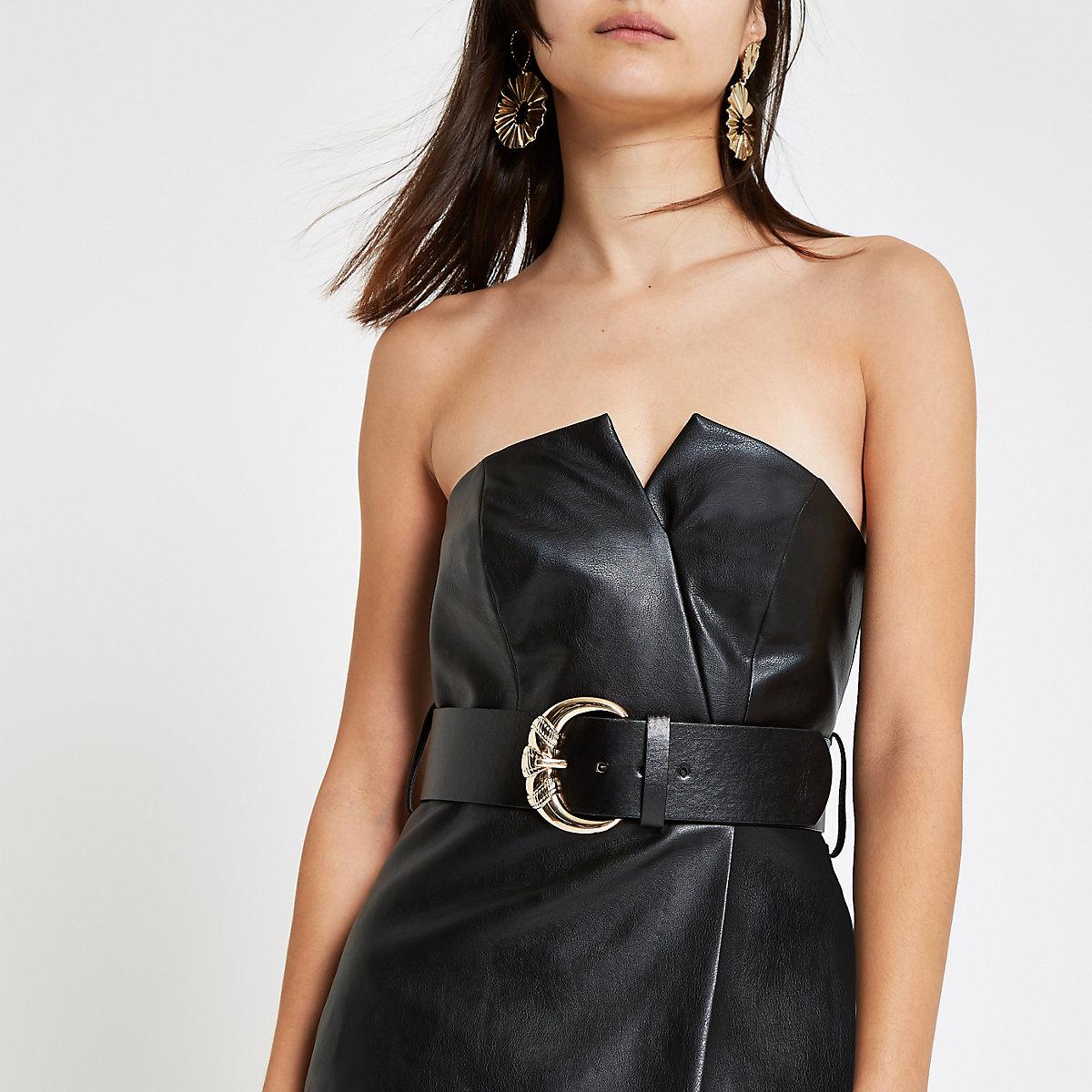 ce17777c80a0 Mini-robe moulante bandeau noire à ceinture - Robes moulantes ...