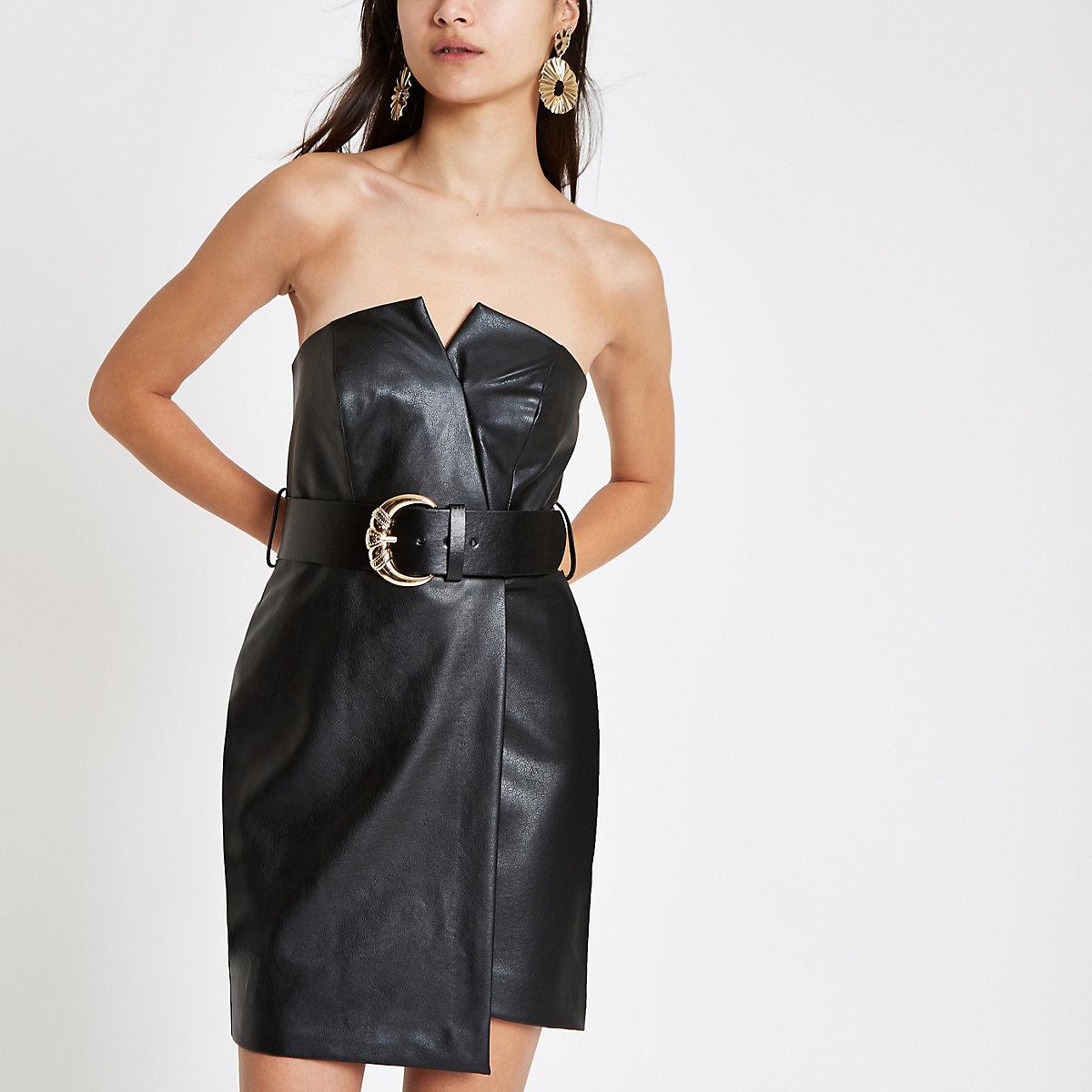 Black bandeau belted bodycon mini dress