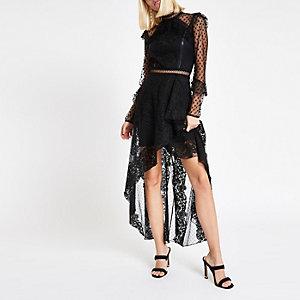 Black lace long sleeve maxi dress