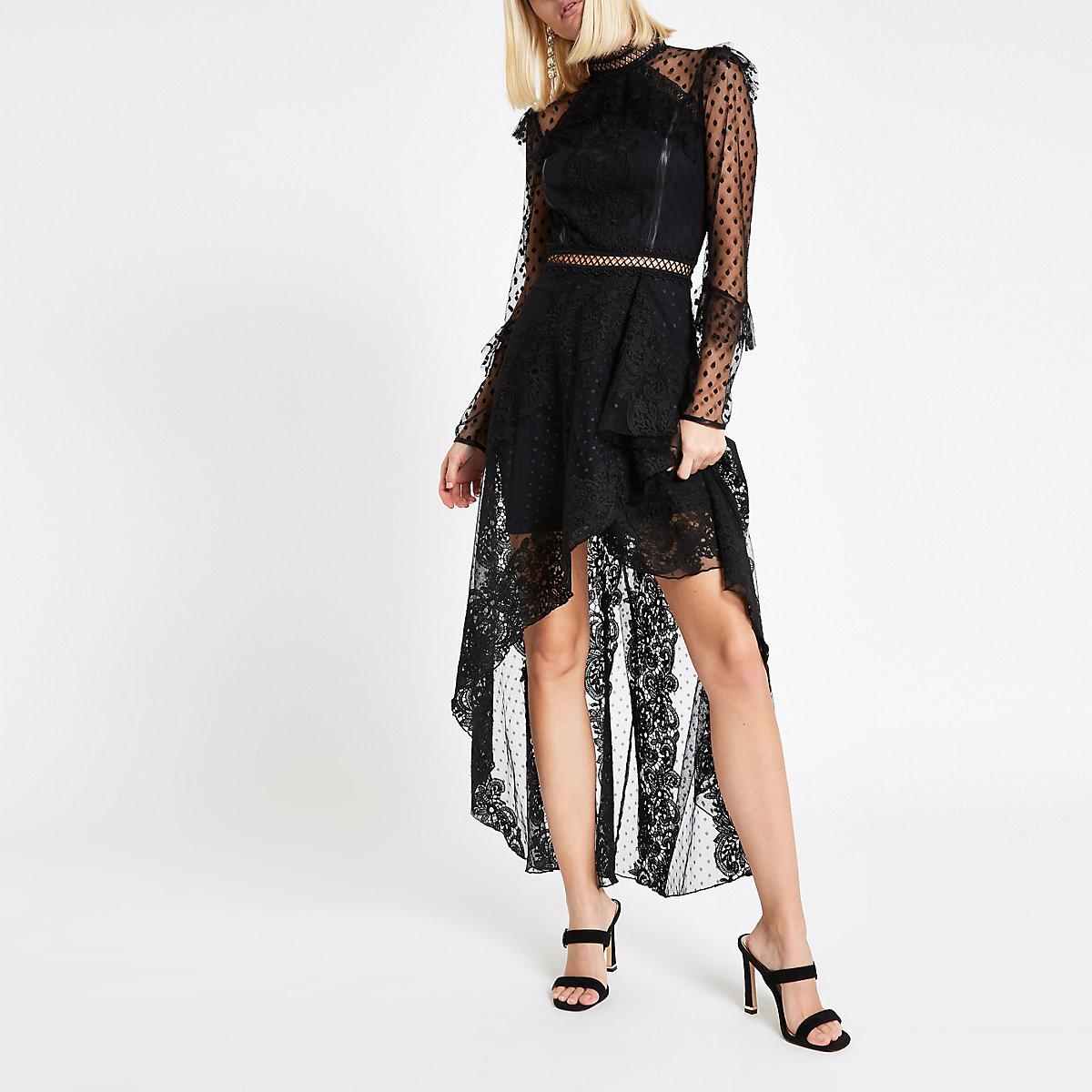a1818f9800b97f Genoeg Zwarte kanten maxi-jurk met lange mouwen - Maxi-jurken - Jurken