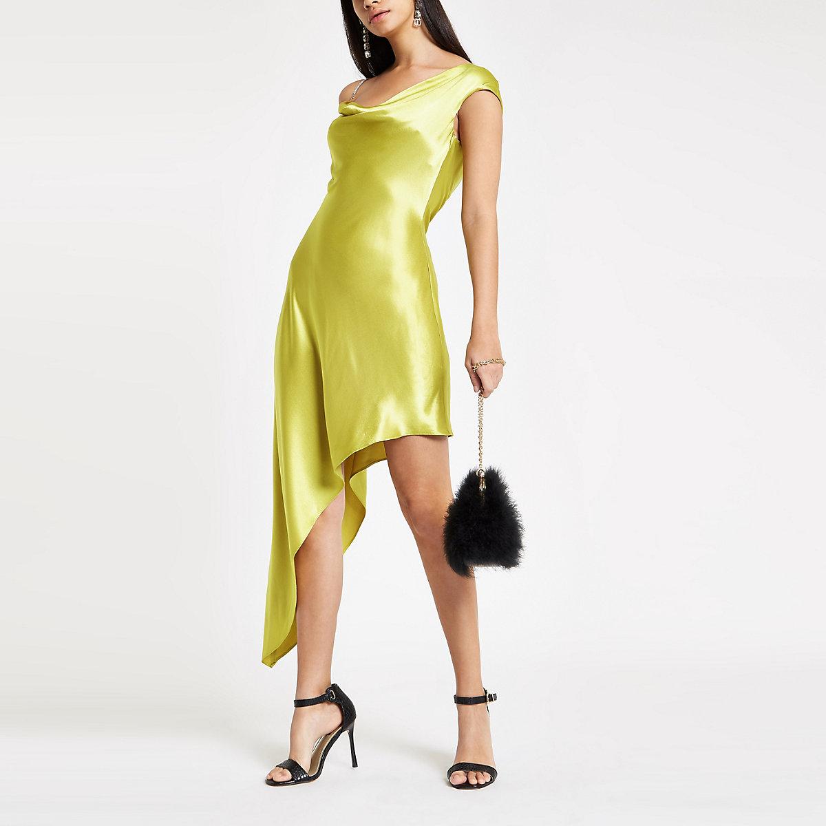Green rhinestone strap asymmetric slip dress