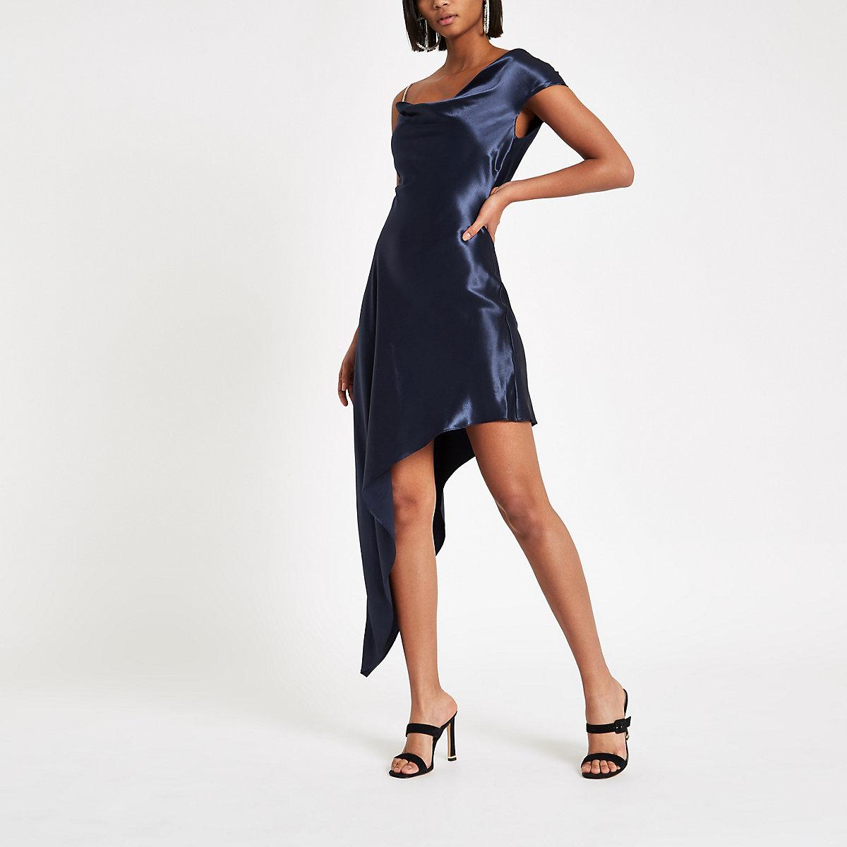 Navy rhinestone strap asymmetric slip dress