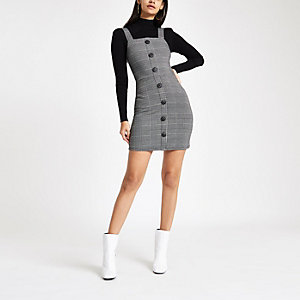 Grey check button up pinafore mini dress