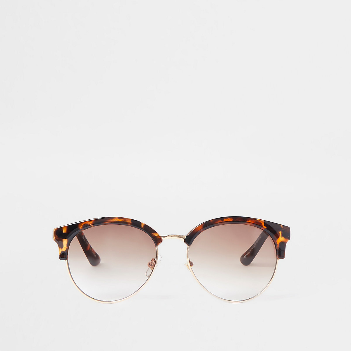 Brown tortoiseshell chain trim sunglasses