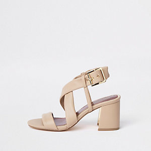 Beige cross strap block heel sandals
