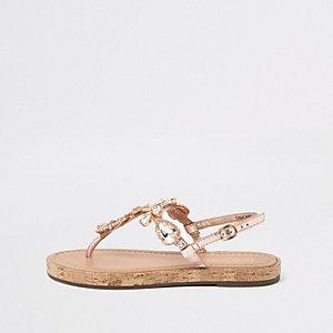 Goudkleurige leren verfraaide platte sandalen