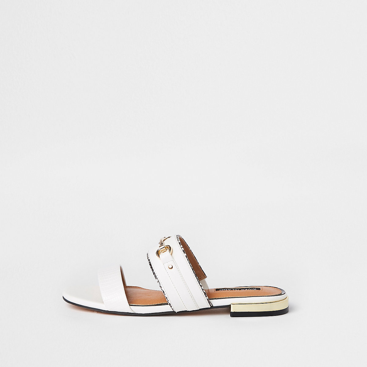 White snaffle open toe mules