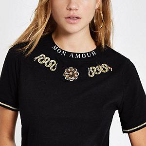 Black embellished snake print T-shirt