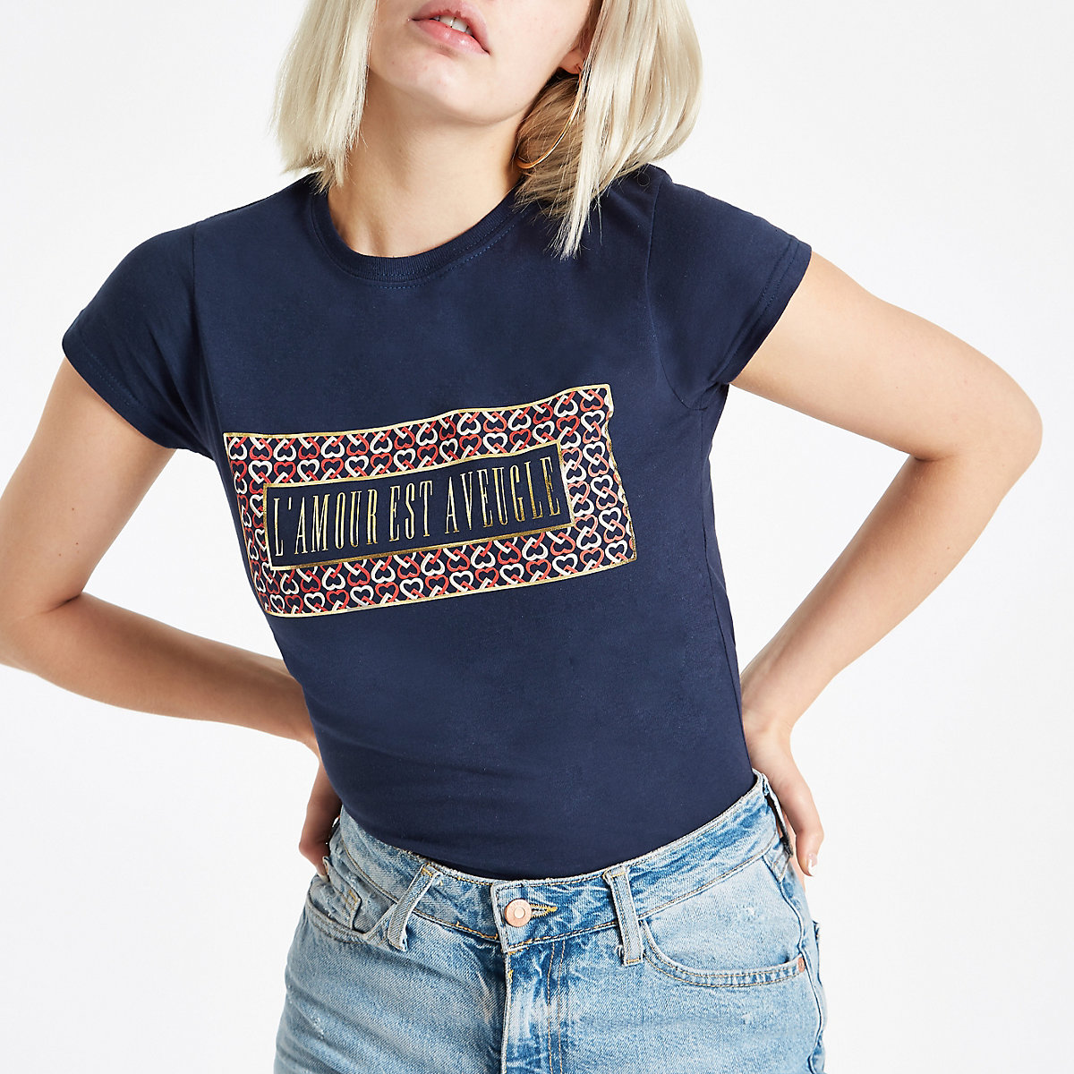 Navy 'l'amour' heart print fitted T-shirt