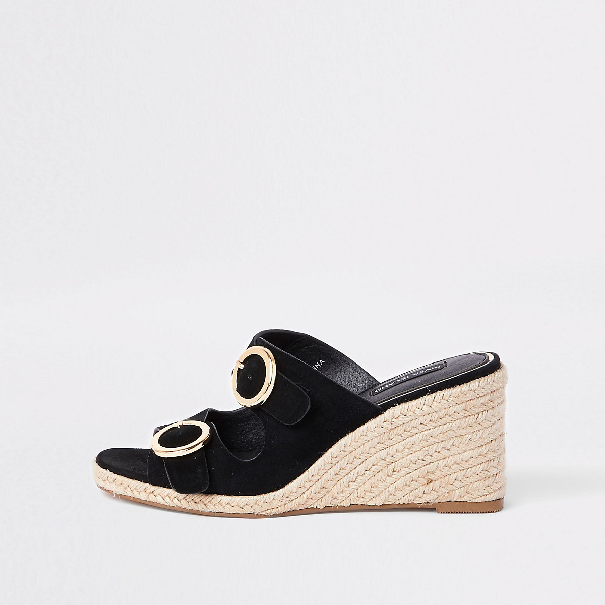 Black buckle square toe wedges
