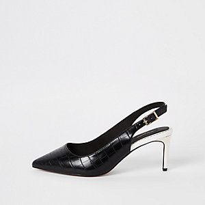 Black croc wide fit slingback court shoes