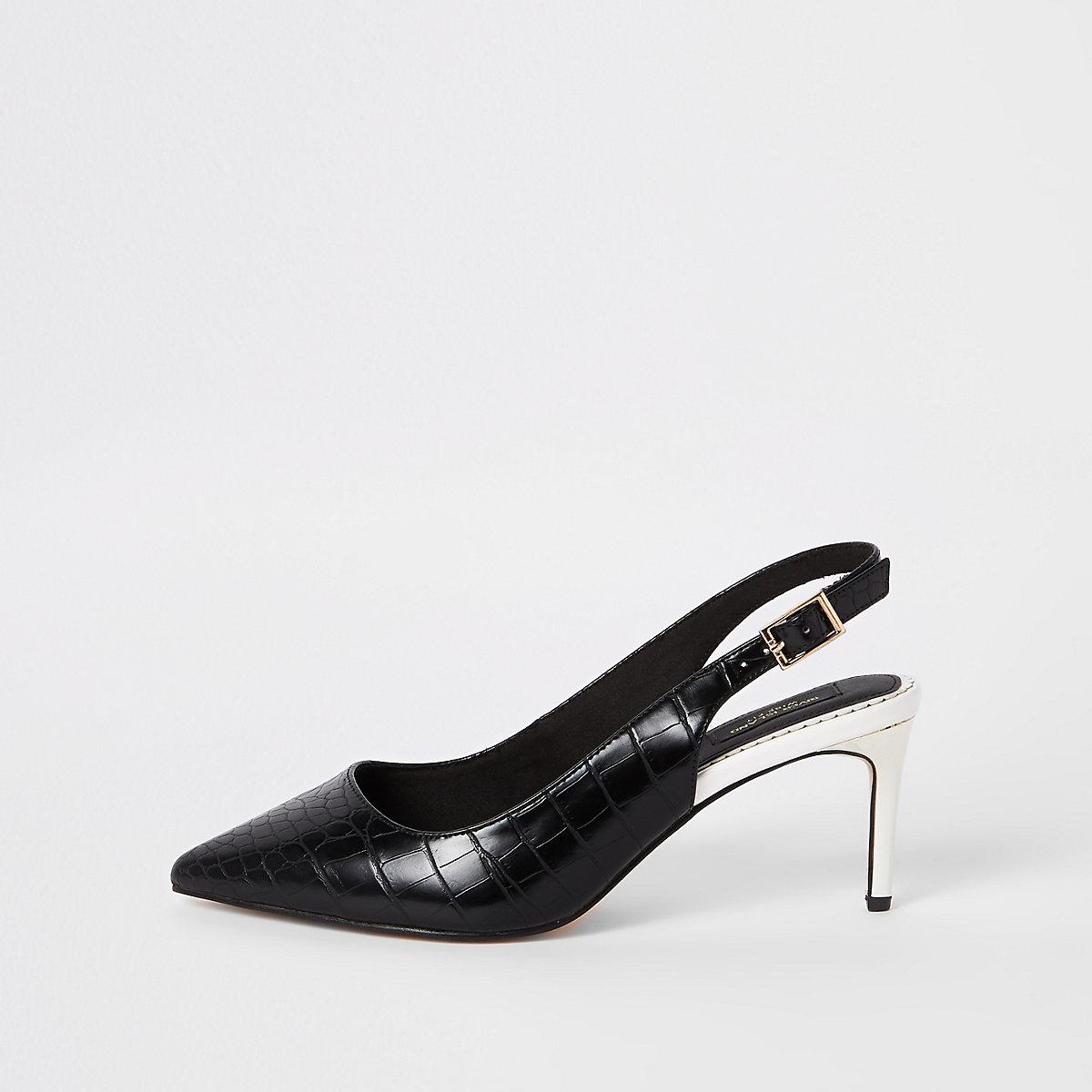 Black croc wide fit sling back court shoes
