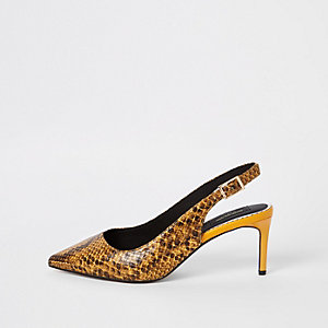 Yellow snake wide fit sling back court shoes