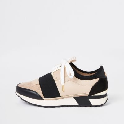 Cream Elasticated Lace Up Runner Trainers by River Island