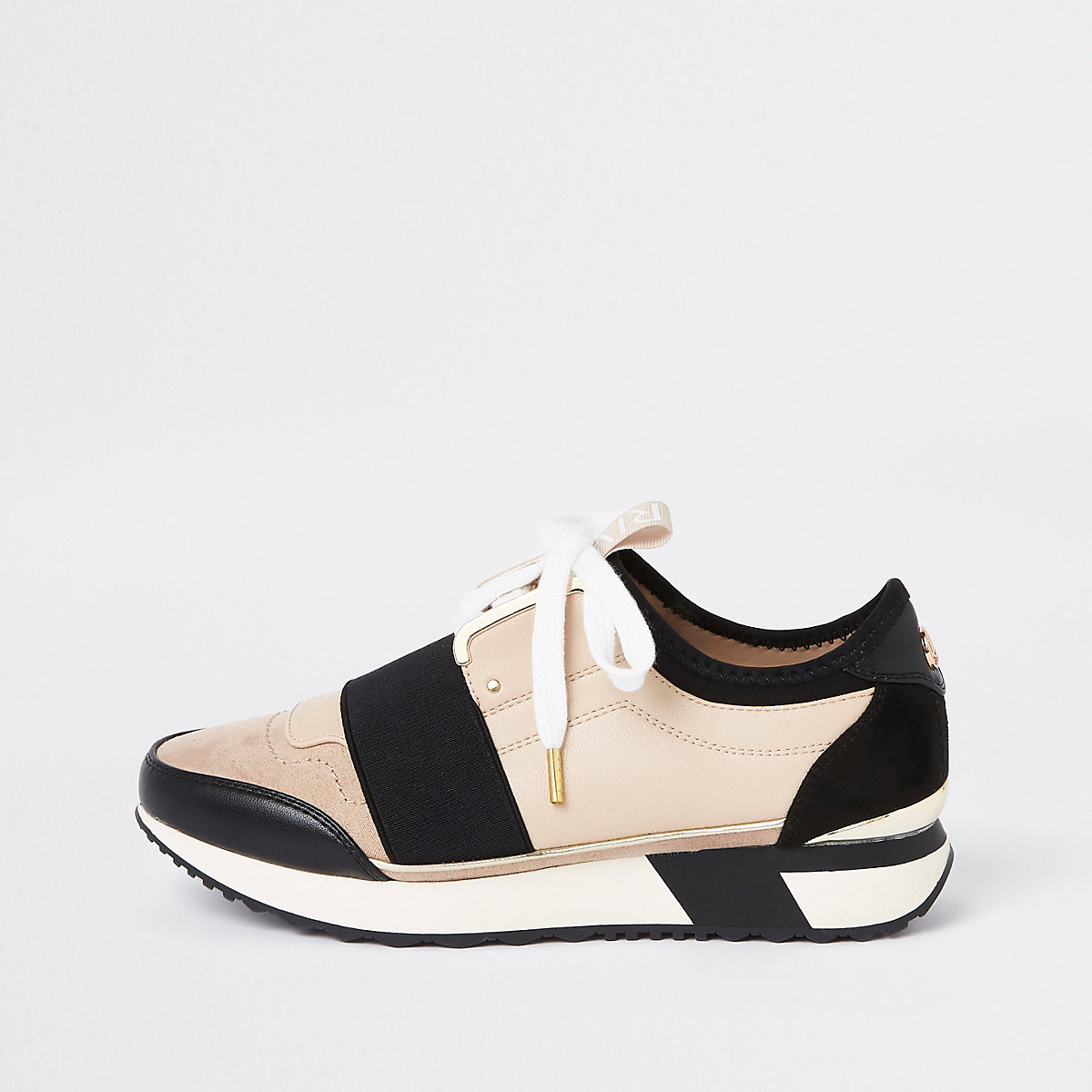 Cream elasticated lace-up runner trainers