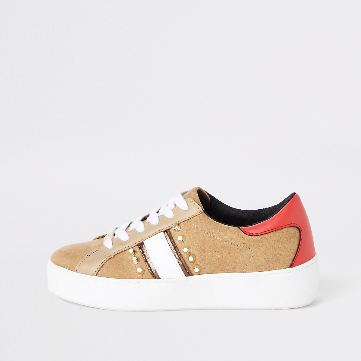 Beige studded lace-up sneakers