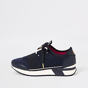 Navy elasticated lace-up runner trainers