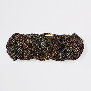 Brown metallic plaited headband