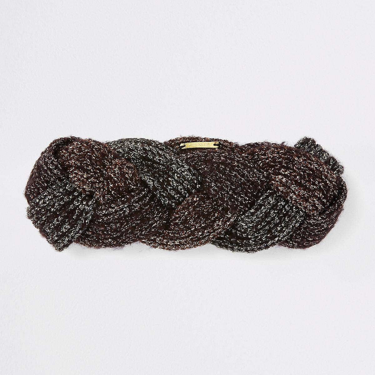 Brown metallic plaited headband