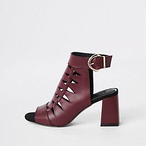 Burgundy cut out shoe boots