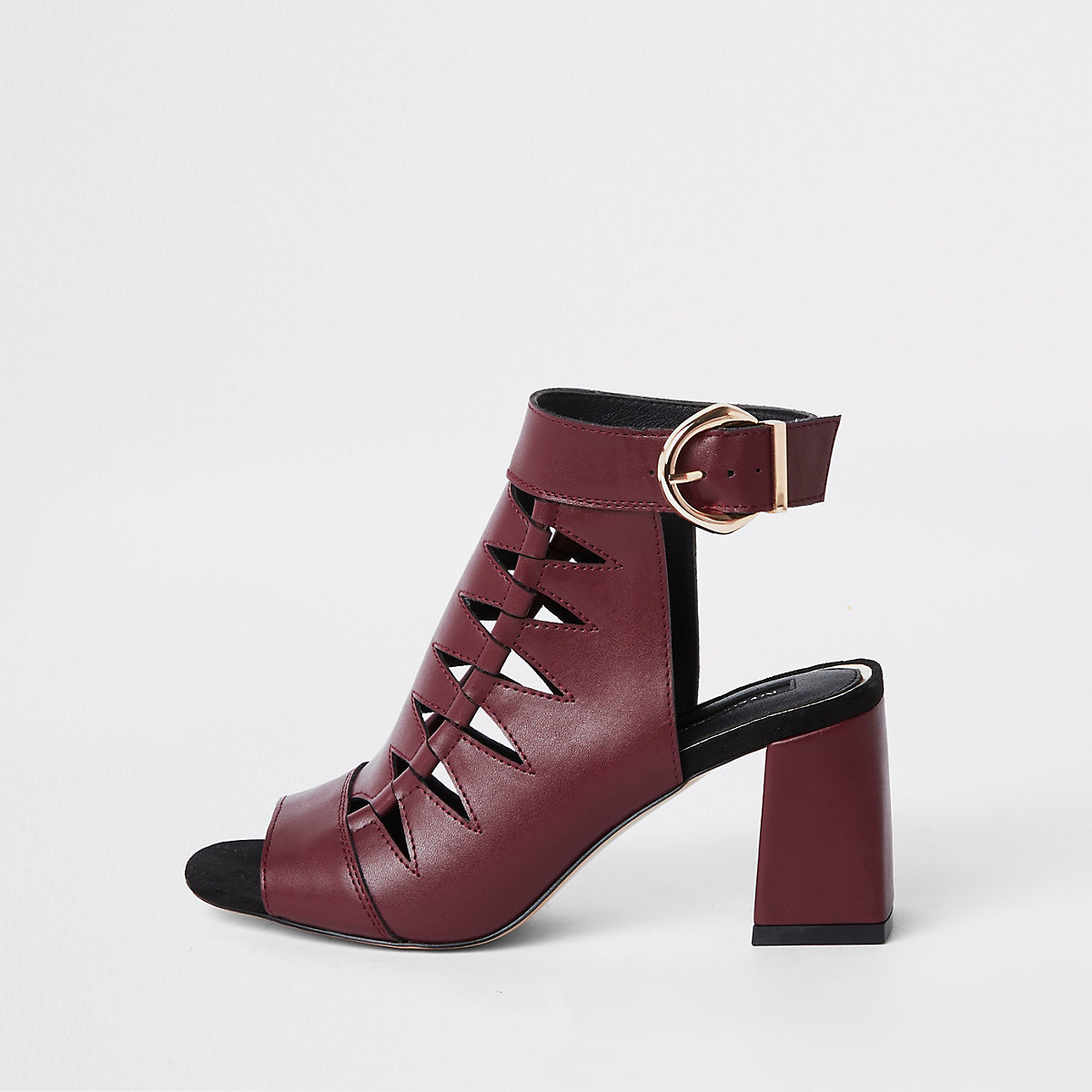 Burgundy cut out shoe boots