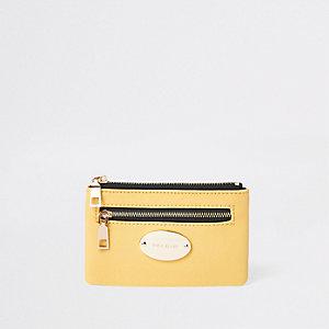 Porte-carte jaune avec pochette zippée