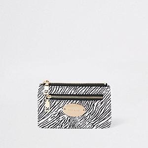 Pochette porte-cartes zippée imprimé zèbre noire