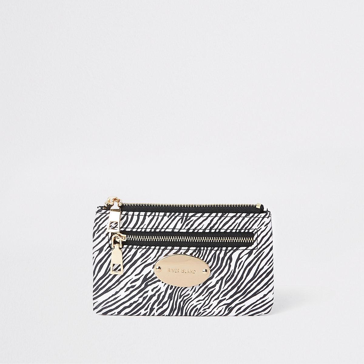 Black zebra print zip pouch card holder