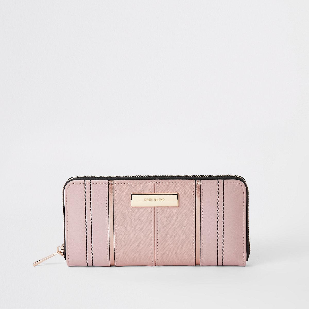Light pink zip around purse