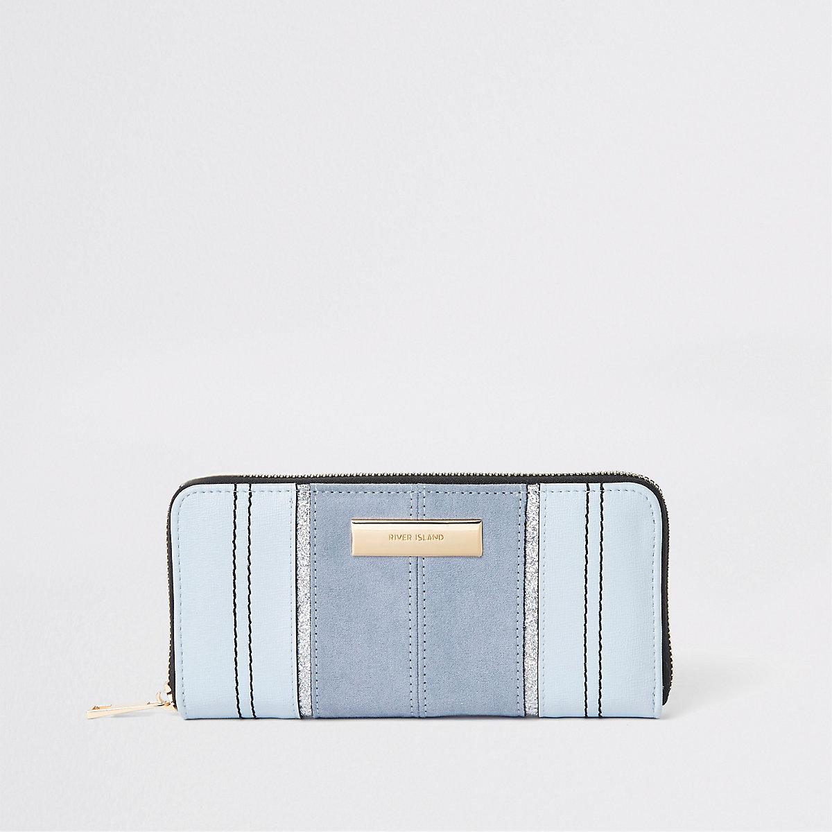 Light blue zip around purse