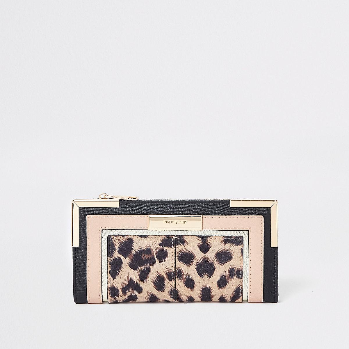 Beige Geldbörse mit Leopardenprint