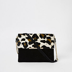 Black leather leopard print under arm bag