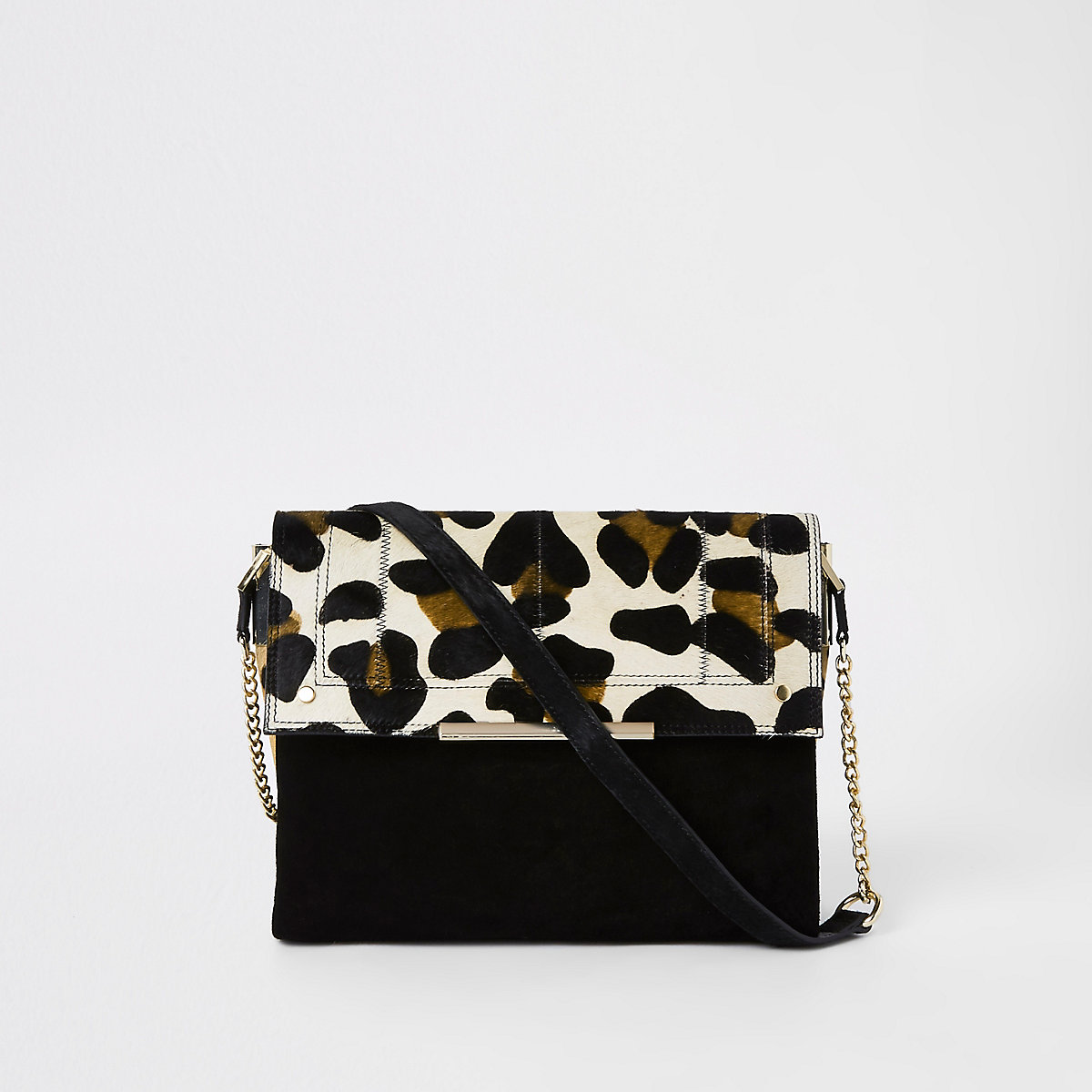 Black suede leather leopard under arm bag