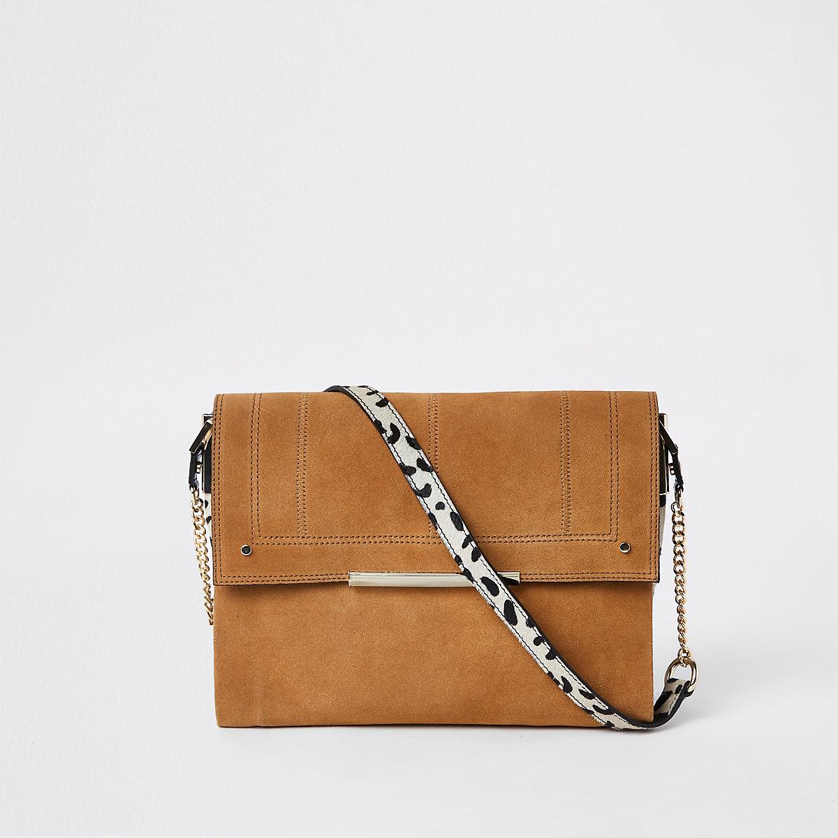 Beige suede leather under arm bag