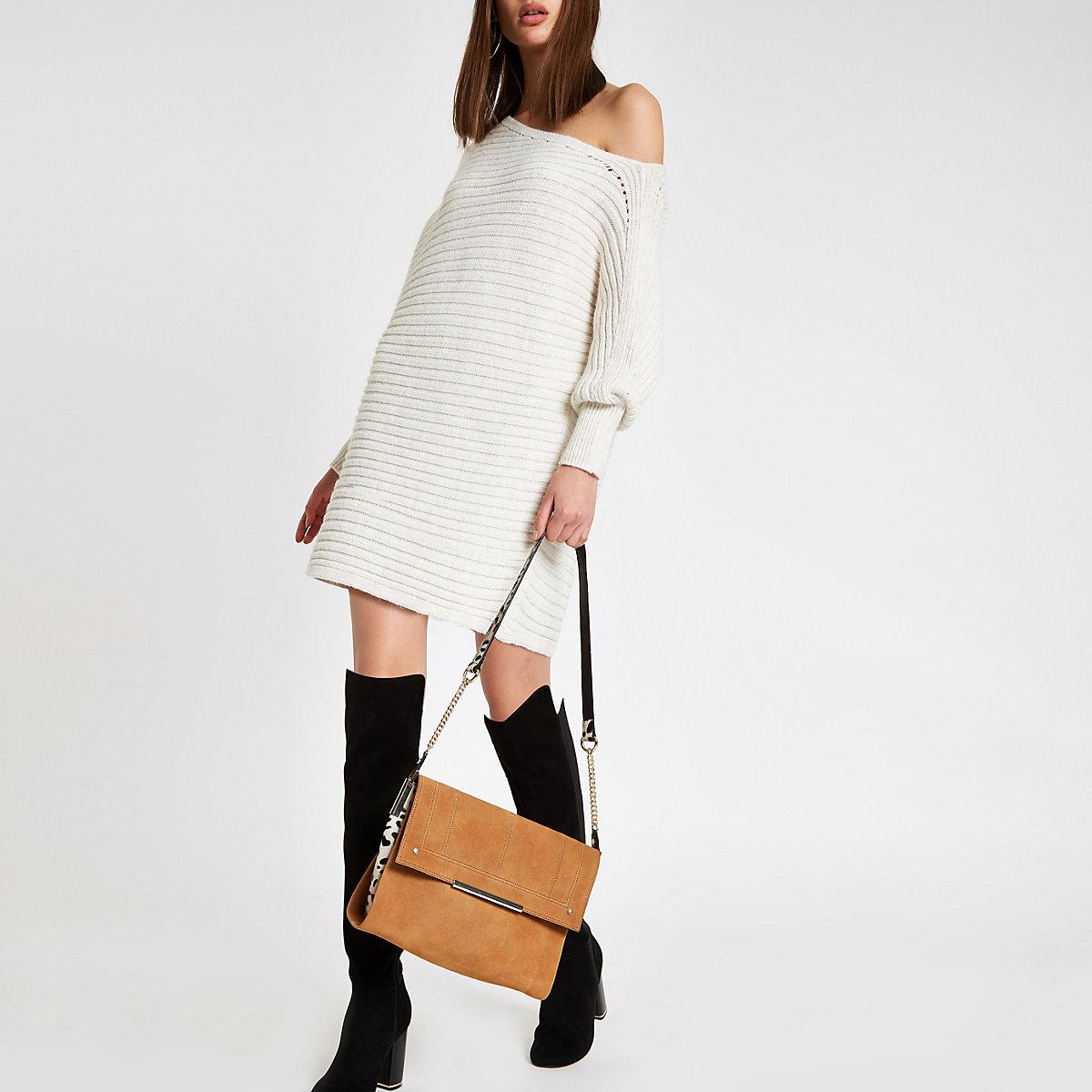 e88eed21bd1d Beige suede leather under arm bag - Shoulder Bags - Bags   Purses ...