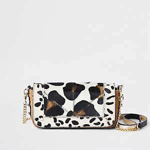 Beige leather animal print cross body bag