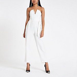 Petite white tie bow bardot tapered jumpsuit