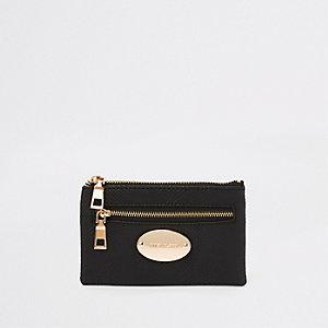 Mini porte-monnaie noir avec plaque ovale à logo RI