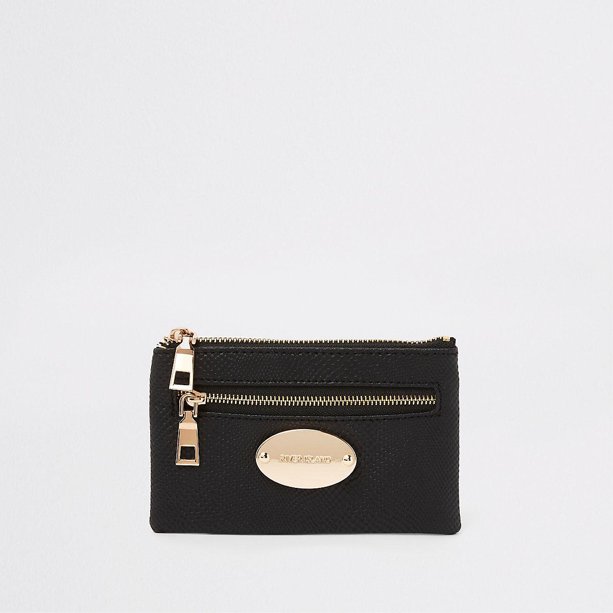 Black mini oval RI branding purse