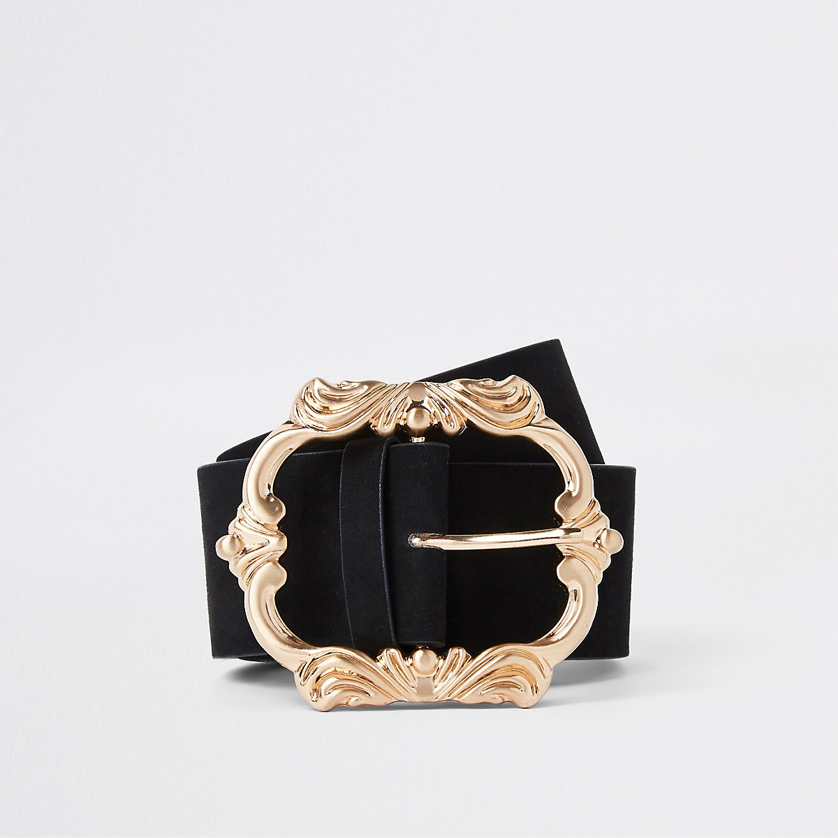 Black suedette waist belt