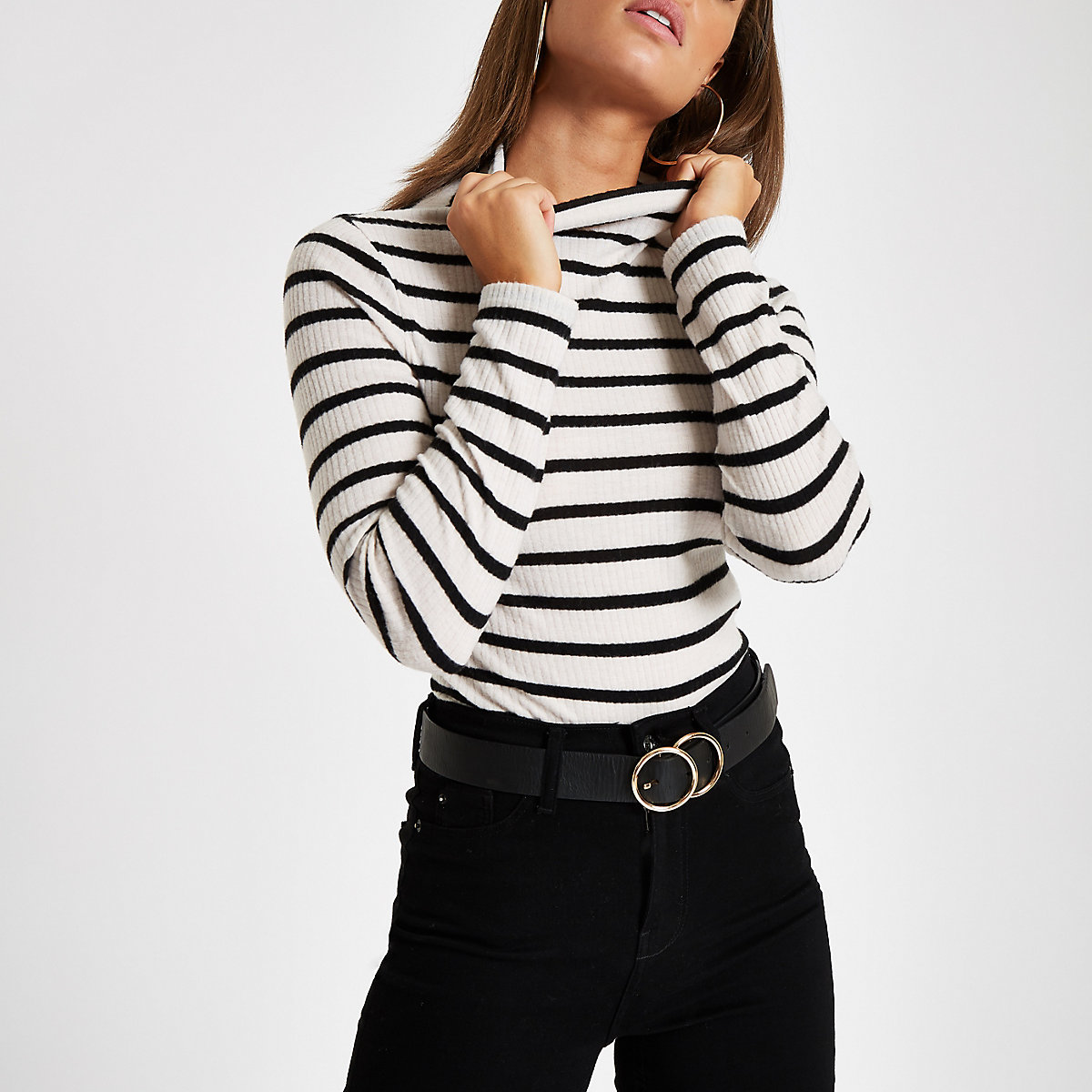Black stripe ribbed high neck long sleeve top
