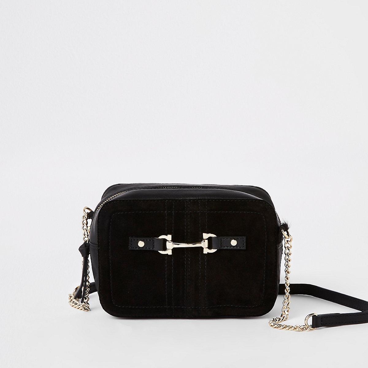 Black suede leather mini cross body bag