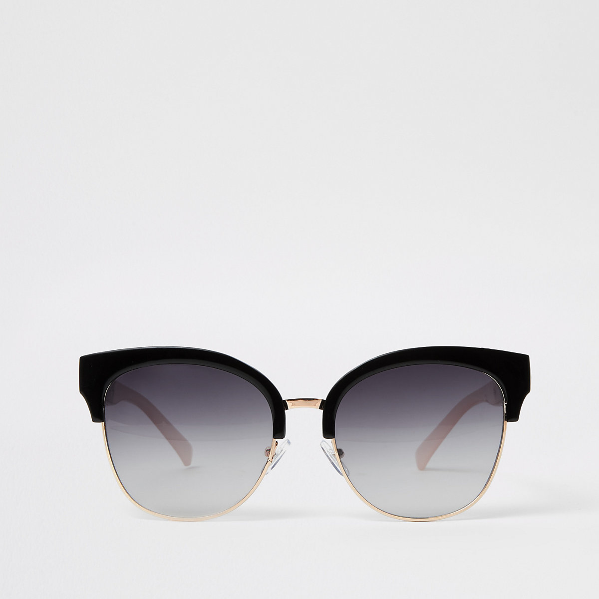 Gold tone black lens oversize sunglasses