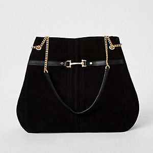 Black leather snaffle front slouch bag