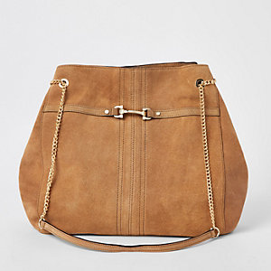 Dark beige leather snaffle front slouch bag