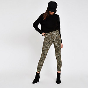 Brown ponte leopard print skinny trousers