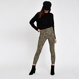 Pantalon skinny en maille point de Rome imprimé léopard marron